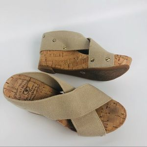 lucky Brand Miller cork wedge shoes size 6